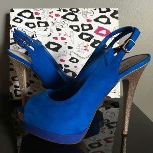 Miss KG Royal Blue Peep Toe Heels